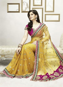 New Fairy Embroidered Yellow And Pink Saree