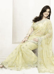 Light Yellow Magnificant Embroidered Saree