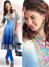Blue Anarkali Net Churidar Set