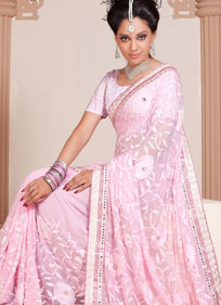 Attractive Rose Pink Embroidered Saree