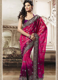 Pink Embroidered Festival Saree