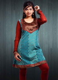 Blue and Red Kurti