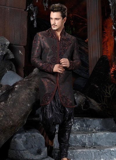 Pure Banarsi Fabric Indo Western Maroon Sherwani