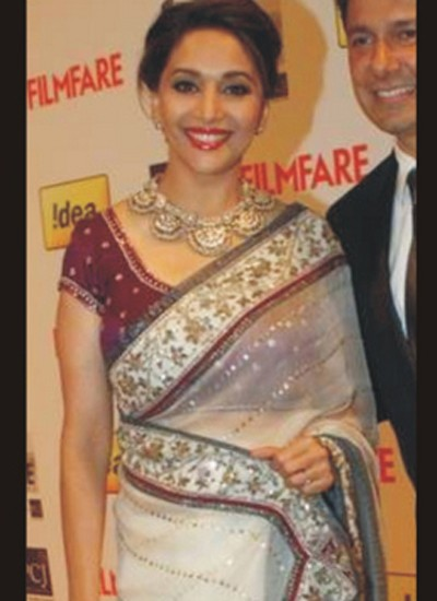 Madhuri Dixit Embroidered Saree