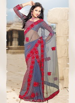 Steel Blue Embroidered Saree
