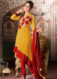 Red gold salwar kameez