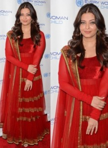 Aishwarya Rai Maroon Net Dress