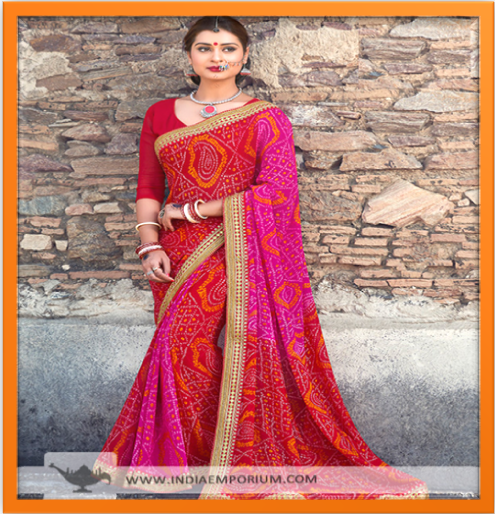 sizzling-red-rani-pink-georgette-saree-lace-work