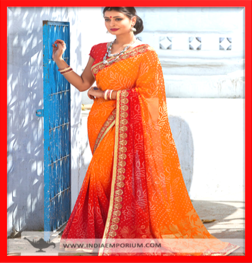 Delightful Orange Red Lace Work Saree