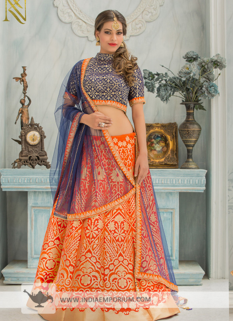 Sensible Orange & Blue Embroidered Lehenga Choli