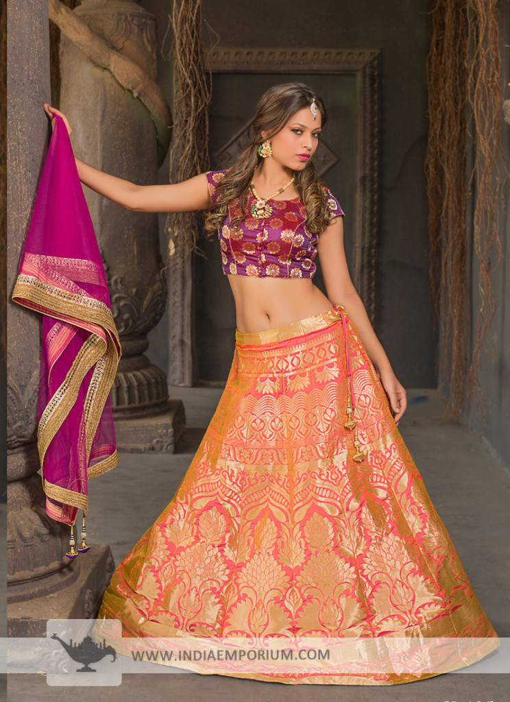 Sizzling Pure Silk & Jacquard Purple and Peach Lehenga Choli