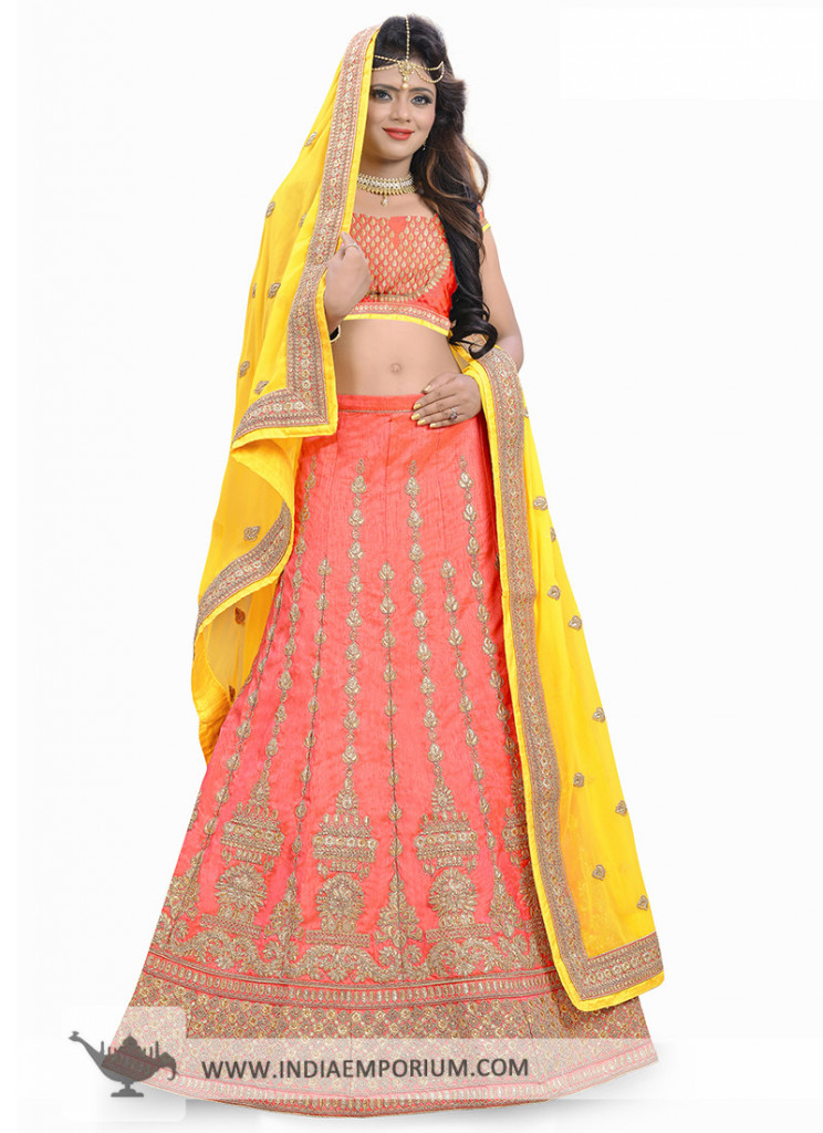 Dazzling Silk Pink & Yellow Embroidered Lehenga Choli