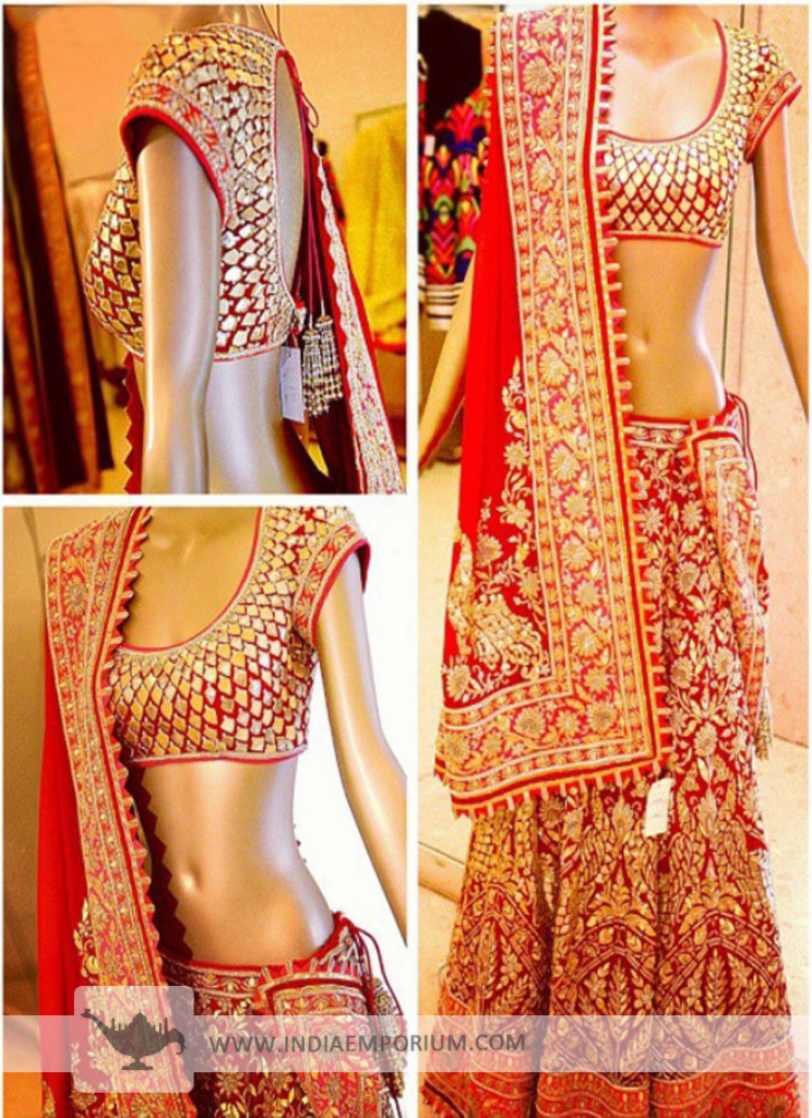 Gorgeous Red Bridal Georgette Lehenga Choli with Zari Work
