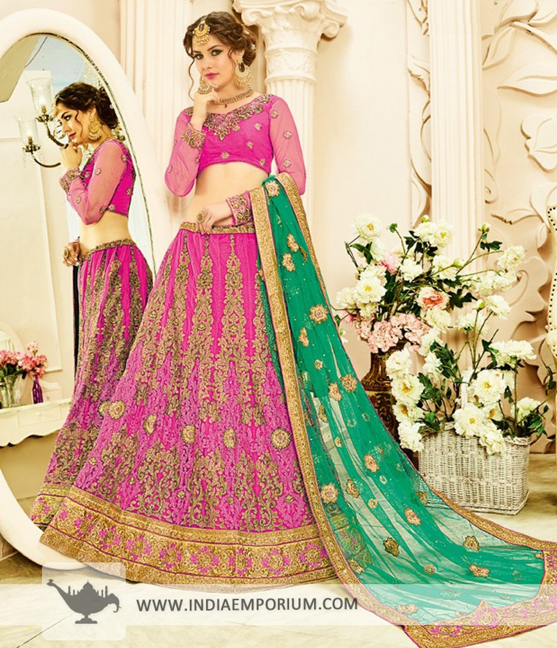 Exquisite Square Net Magenta & Green Embroidered Lehenga Choli
