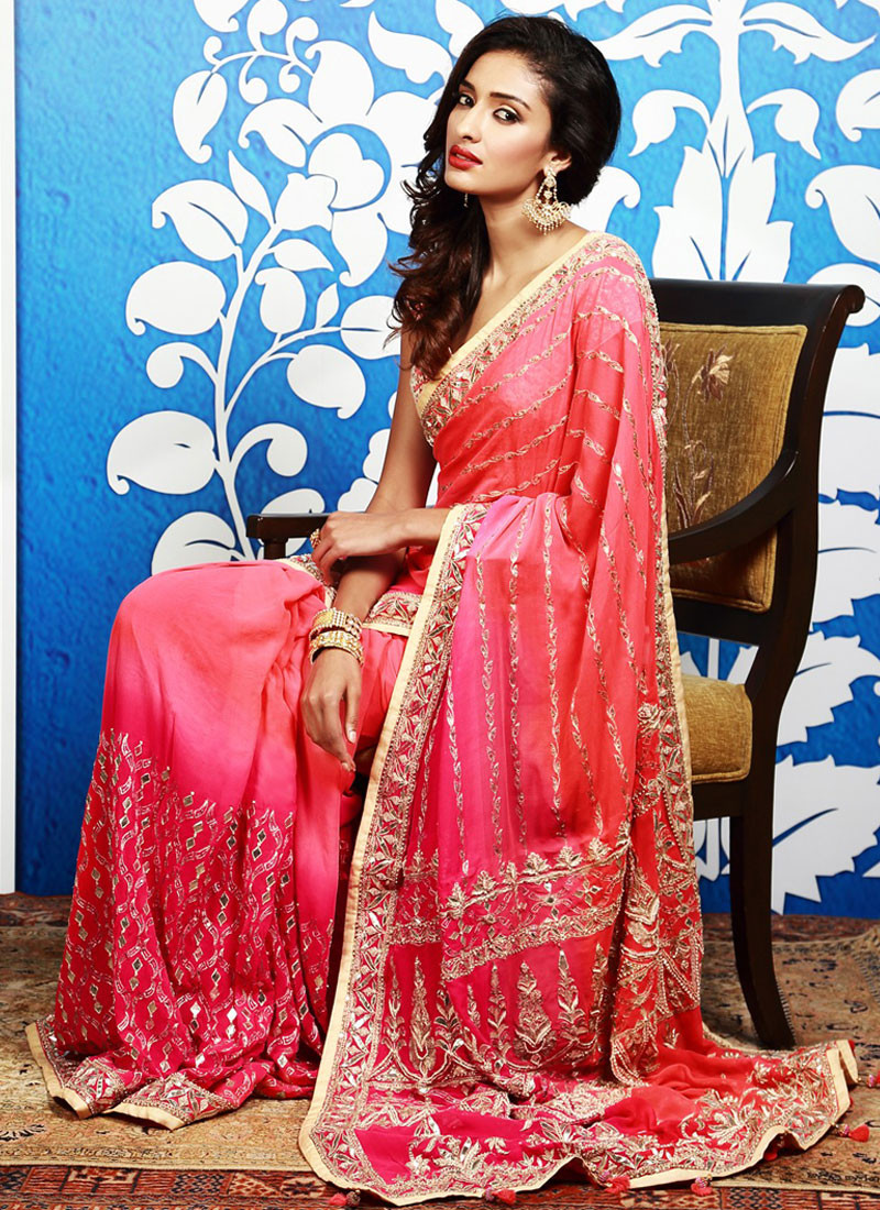 Ombre Silk Georgette Pink Saree with Gota Patti Work