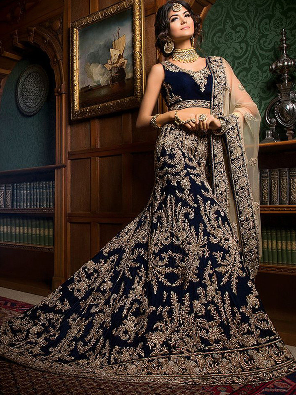 Exquisite Silk & Georgette Black and Golden Mandarin Collar Long Choli Lehenga