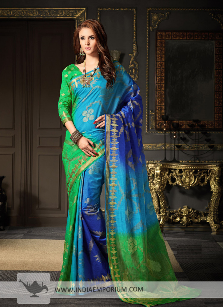 Stunning Art Silk Based Blue & Green Weaving Work Saree