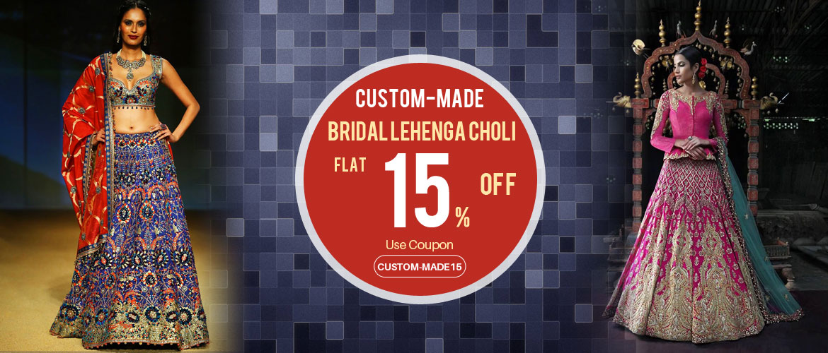 Custom made lehenga choli 15 percent offer