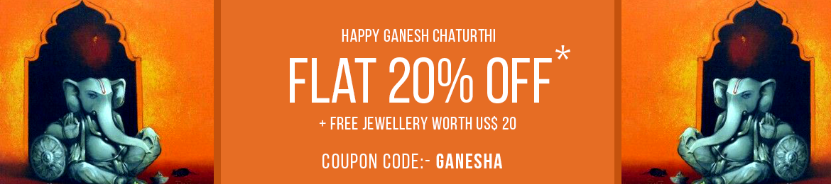 Ganesh chtaurthi offer - Flat 20% Off plus free jewellery - coupon code: Ganesha