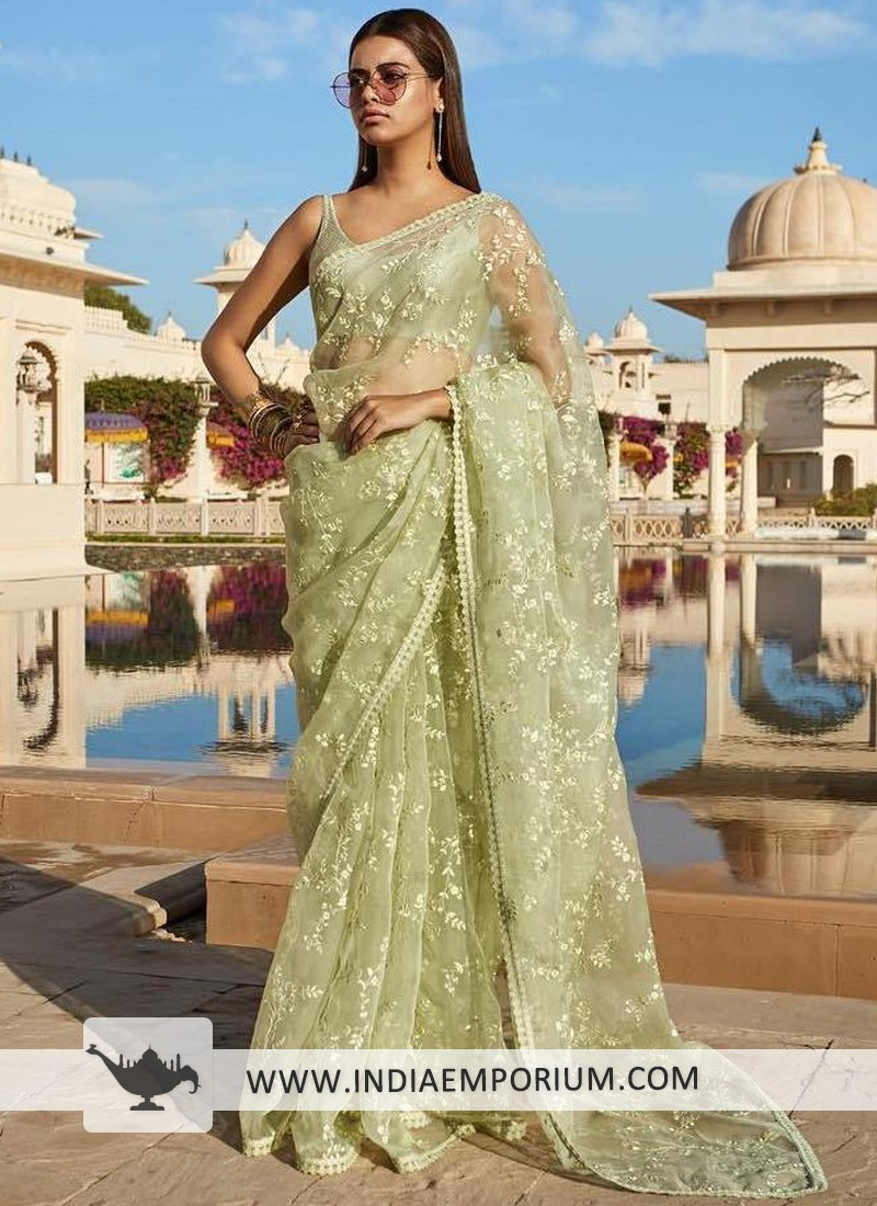 Fascinating Light Green Organza Thread Embroidery Party Wear