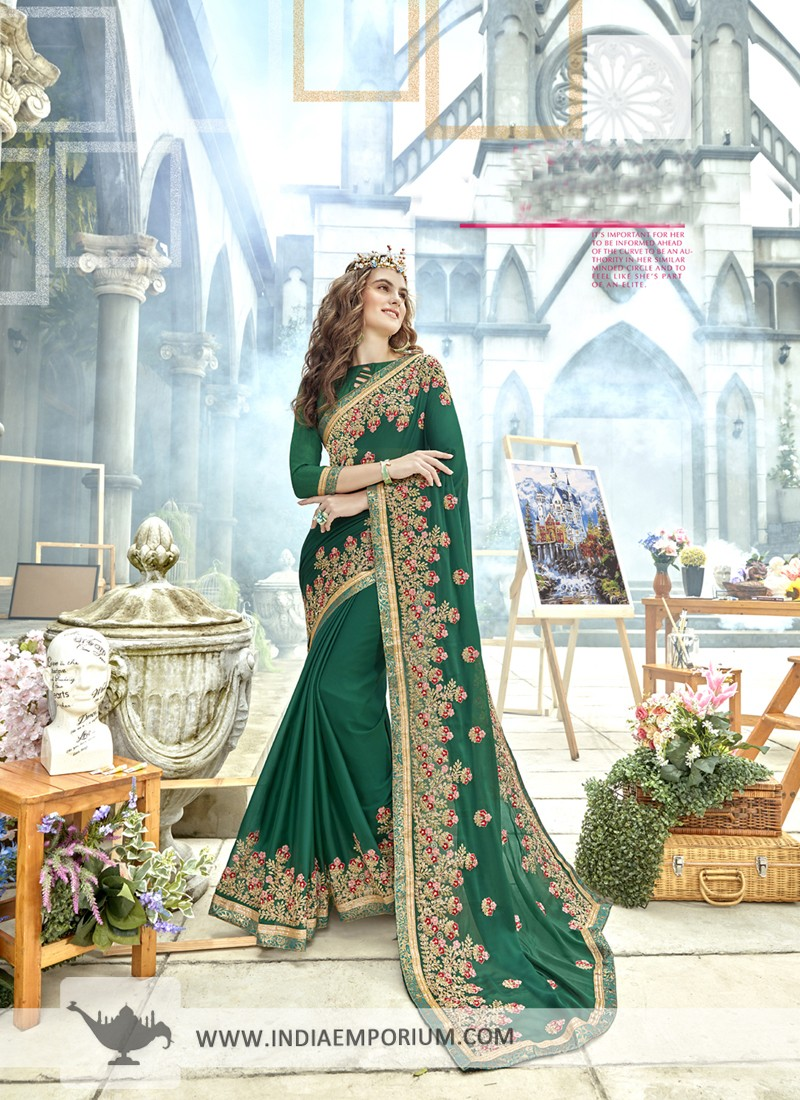 Charming Georgette Green Heavy Embroidery Designer Saree