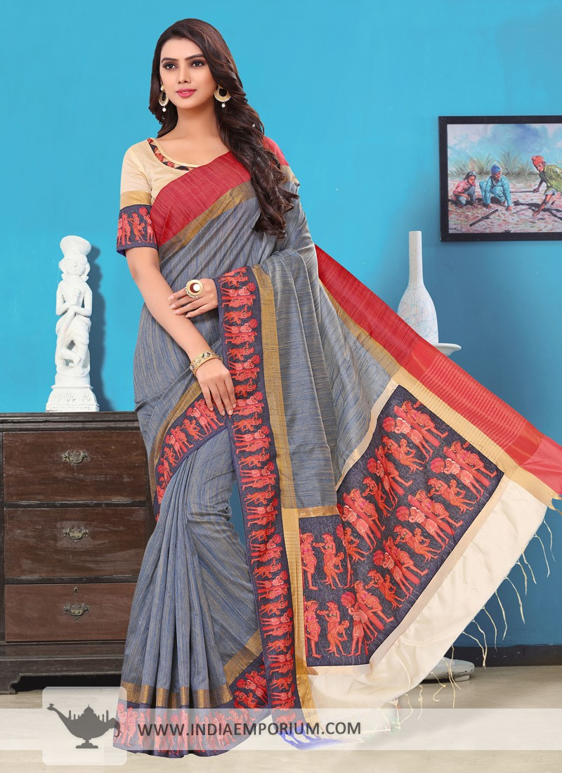 Beautiful Gray & Off White Handloom Cotton Silk Saree with Lace Border