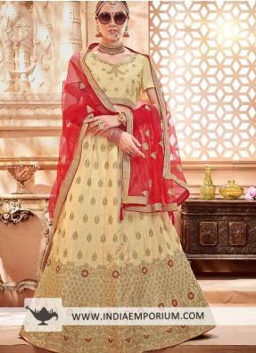 91c50629330 Magnificent Beige Silk Satin Heavy Zari Embroidery Bridal Lehenga Choli