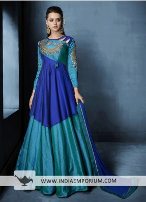 ef8a066c7c5 Congenial Blue Taffeta Silk Heavy Embroidery Gown Style Suit