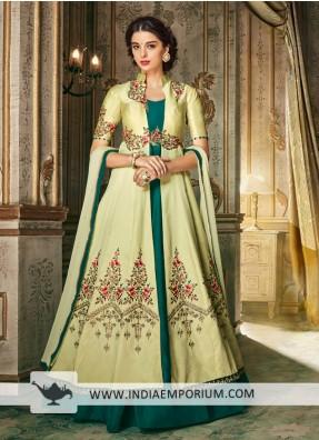 8f462e415d2 Elegant Green & Pista Heavy Barfi Silk Heavy Embroidery Anarkali Suit
