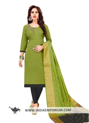 Buy Salwar Kameez Online Anarkali Suits Patiala Suits Churidar Suits Achkan Style Suits 2018 Light Green Fabric Cotton Collection Churidar Suit,Mint Green Combination Color